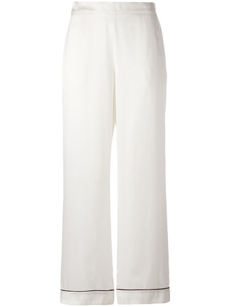 women edgy white silk pants