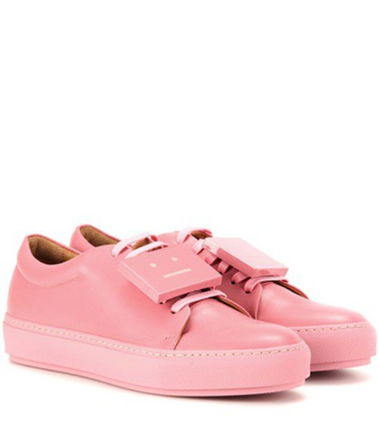 Acne Studios Adriana Turnup Leather Sneakers in pink