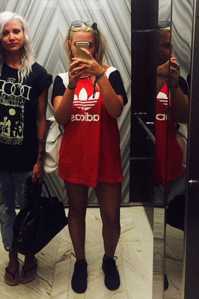 shirt red black white adidas shirt adidas lottietomlinson lottie