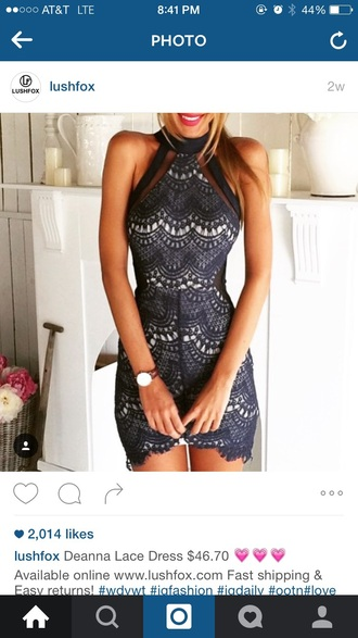 dress lace dress black bodycon homecoming prom halter top