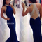 Niceoo dresses | classic royal blue round neck sweep train chiffon prom dresses with beaded