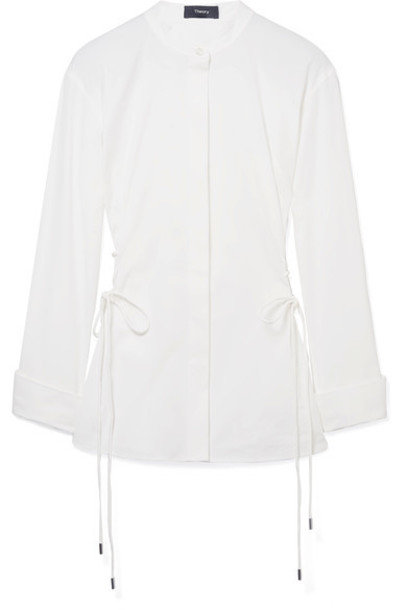 theory shirt lace white cotton top