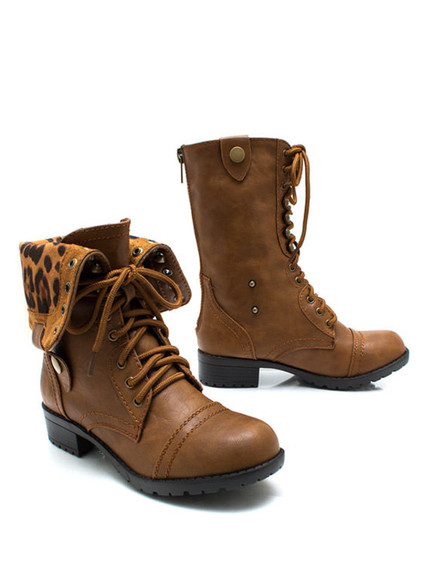 shoes leopard print leopard boots combat boots winter boots camel sea of shoes