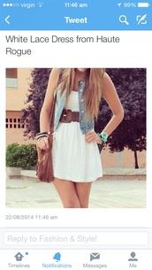 white dress,white,white lace dress,dress,denim jacket,light blue,brown bag,belt,thick belt,fringed bag,summer outfits,cute dress