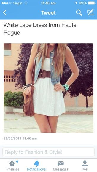 white brown bag white dress white lace dress dress denim jacket light blue Belt thick belt fringed bag summer outfits cute dress