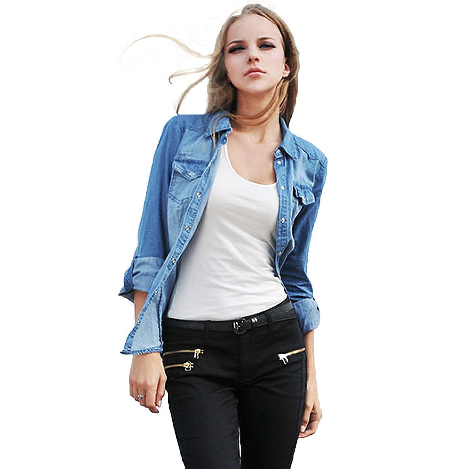 Womens denim shirt jacket