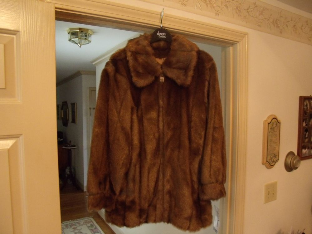 Dennis Basso Faux Fur Coat Brown M | eBay
