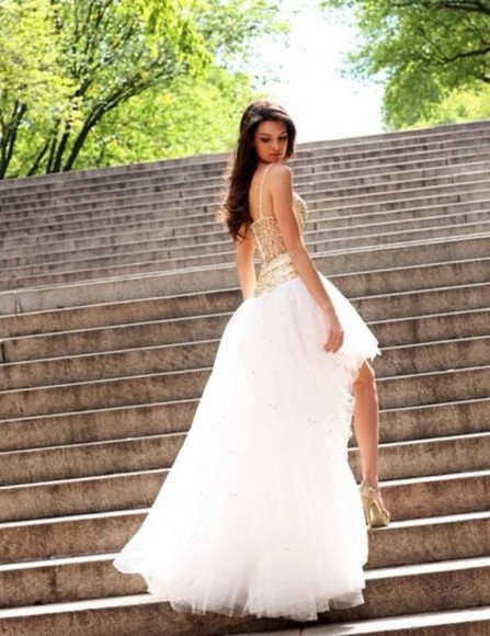 dress princess white gold wedding