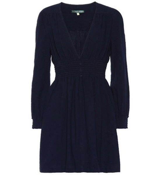 AlexaChung Smocked cotton dress in blue