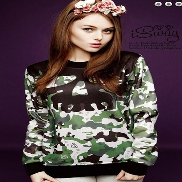 camouflage blouse sweatshirt long sleeves pullover women sweatshirt winter coat casual dress sportswear