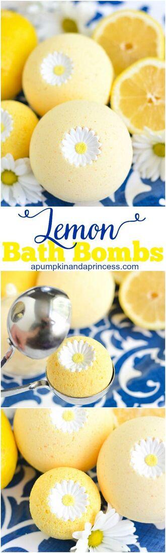 home accessory cosmetics lemongrass floral daisy bath bomb pastel yellow