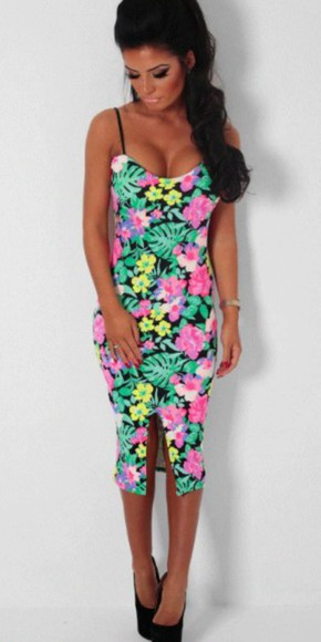 floral dress sundress tropical midi dress colorful sexy dress