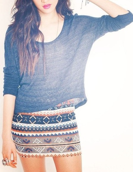 skirt aztec skirt sweater grey sweater cute aztec print mini skirt tube skirt t-shirt patterned skirt skin-tight tribal tribal skirt aztec short skirt shirt grey grey shirt pretty navy orange tribal pattern gray t-shirts flowy top