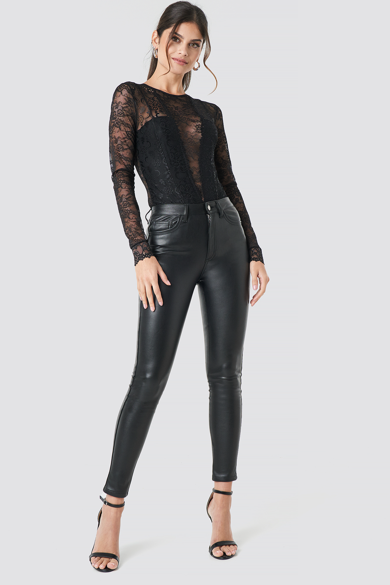 Faux Leather Trousers Schwarz