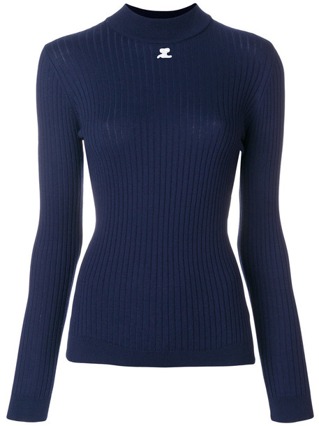 Courrèges - fitted knitted top - women - Cotton/Cashmere - 1, Blue, Cotton/Cashmere