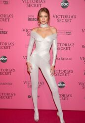 shoes,all white everything,celebrity,victoria's secret model,victoria's secret,model,gigi hadid,jumpsuit,body,white,tight,off the shoulder,bodycon,fold over