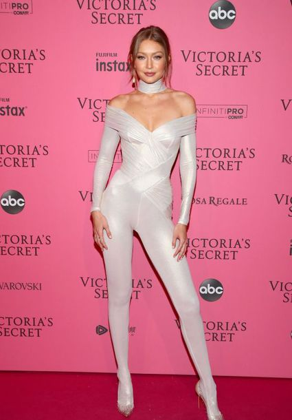 shoes all white everything celebrity victoria's secret model victoria's secret model gigi hadid jumpsuit body white tight off the shoulder bodycon fold over