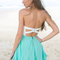 White&teal strapless dress with lace bodice&cutout back