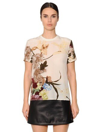 top floral silk white