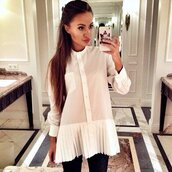 top,white shirt,white,white top,pleated,ruffle,turn down colar,turn down collar dress,turn down shirt,white blouse,white longsleeve dress,shirt dress,tunic dress,office outfits,long sleeves,longsleeve shirt,longsleeve blouse,blouse,dress