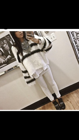 sweater winter sweater winter outfits fur fur sweater silver jewels jewelry necklace watch boots winter boots shoes jeans white jeans denim boho boho jewelry