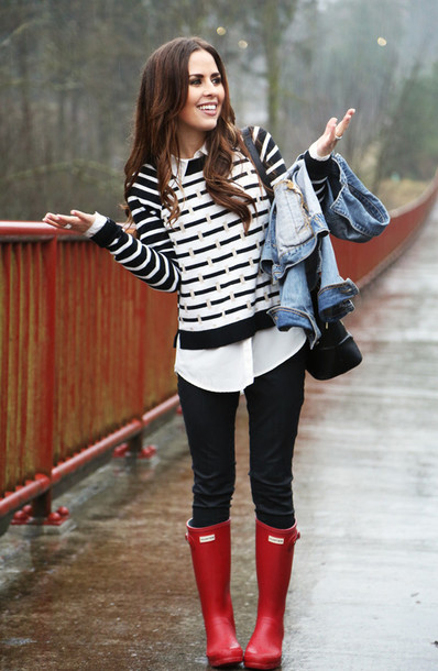dress corilynn blogger wellies black and white striped sweater sweater shirt jacket jeans shoes bag