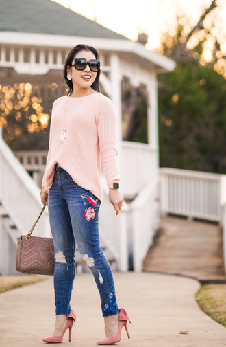 cute & little blogger top sweater jeans shoes bag sunglasses jewels pink sweater pumps high heel pumps