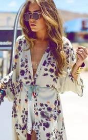 blouse,flower kimono,silk blouse,violet,printed dress,plunge v neck,v neck dress