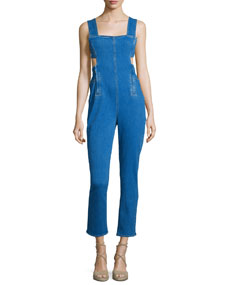 Sleeveless Jumpsuit W/Waist Cutout, Medium Blue