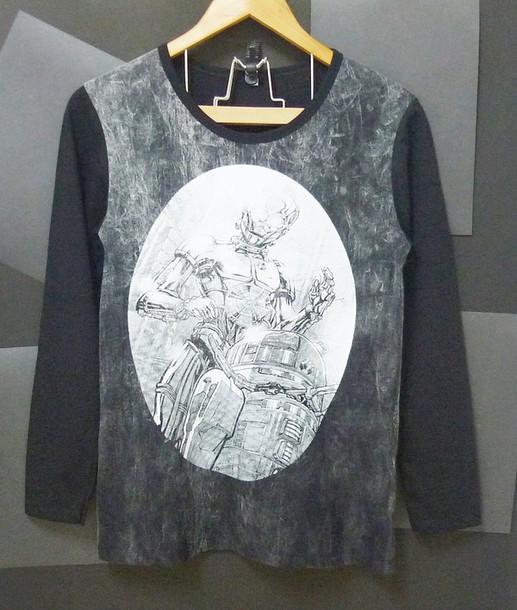 t-shirt, r2d2 shirt, c3po shirt, robot shirt, long sleeve shirts ...