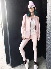 jacket,bella thorne,instagram,beanie,top,jeans,blush,blush pink,baby pink