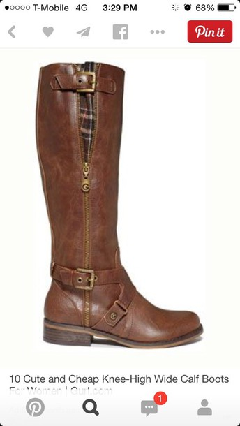 shoes brown knew high large calf leather boots
