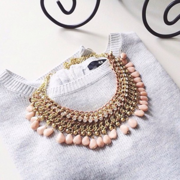 jewels pink necklace gold grey sweater