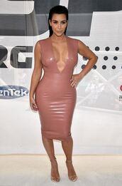 dress,latex,bodycon,kim kardashian,sandals,plunge v neck,shoes