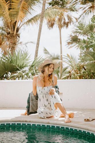 a little dash of darling blogger jumpsuit romper jacket shoes sunglasses hat dress denim jacket summer outfits