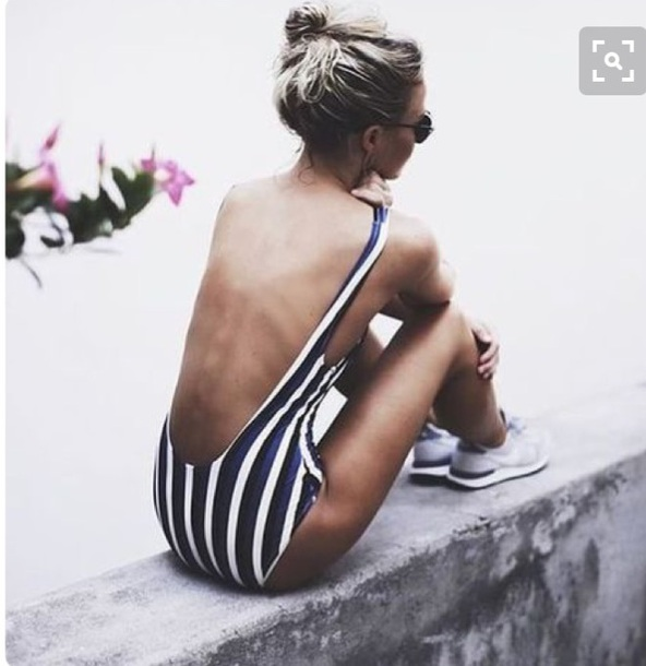 swimwear stripes black and white summer swimwear low back stripes sailor stripes black black and white white one piece swimsuit cut-out swimsuit low back swimsuit black low back one piece swimsuit