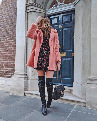 coat tumblr pink coat fur coat dress mini dress floral floral dress boots black boots over the knee boots over the knee