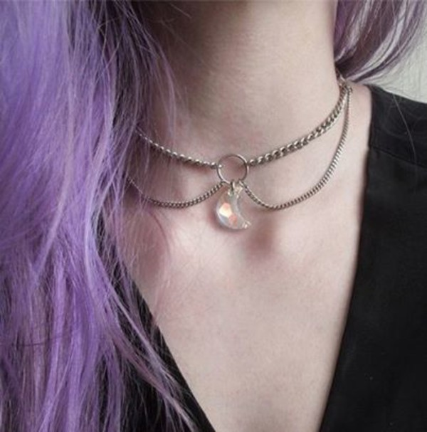 jewels necklace choker necklace moon crystal necklace tumblr