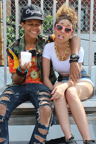 jewels swag dope couple gold necklace hat shirt tribal pattern stud shorts