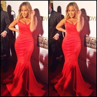 dress adrienne bailon beautiful red carpet sexy