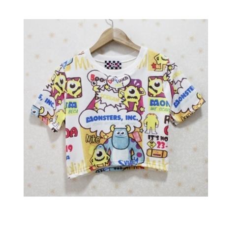 Cute cartoon monsters inc film cotton short crop top shirt