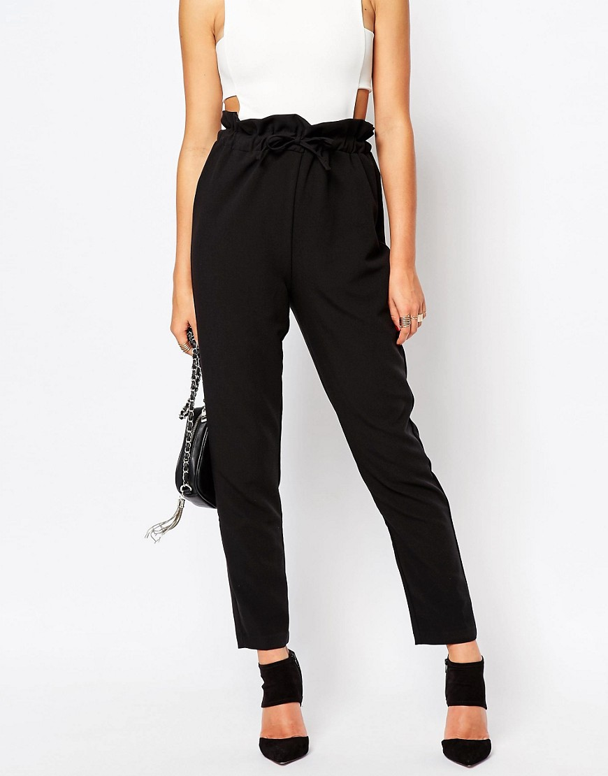 Missguided Paperbag Waist Tapered Trousers at asos.com