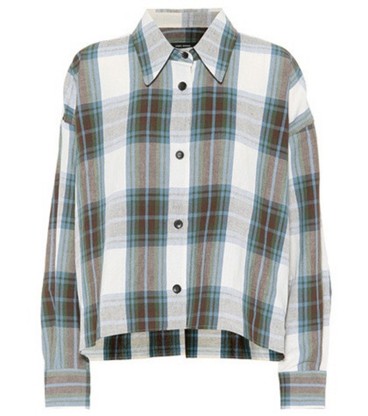 Isabel Marant Macao plaid cotton and linen shirt in blue