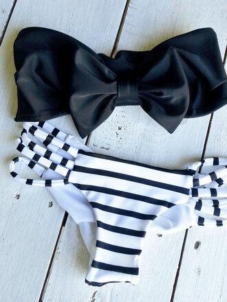 swimwear black bow bandeau bikini white swimwear stripes pretty strapless black and white купальник bandeau black and white stripes bow top bikini bottoms cheeky bikini brazilian bikini bottom