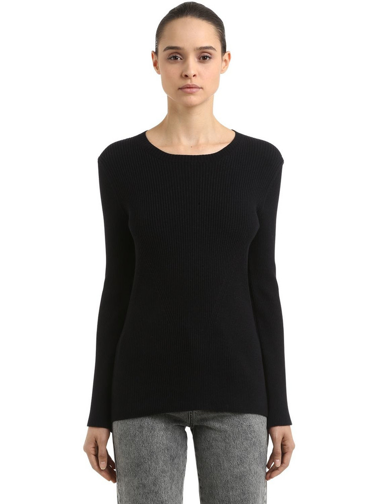 COLIAC Ariete Rib Knit Sweater W/ Snap Buttons in black