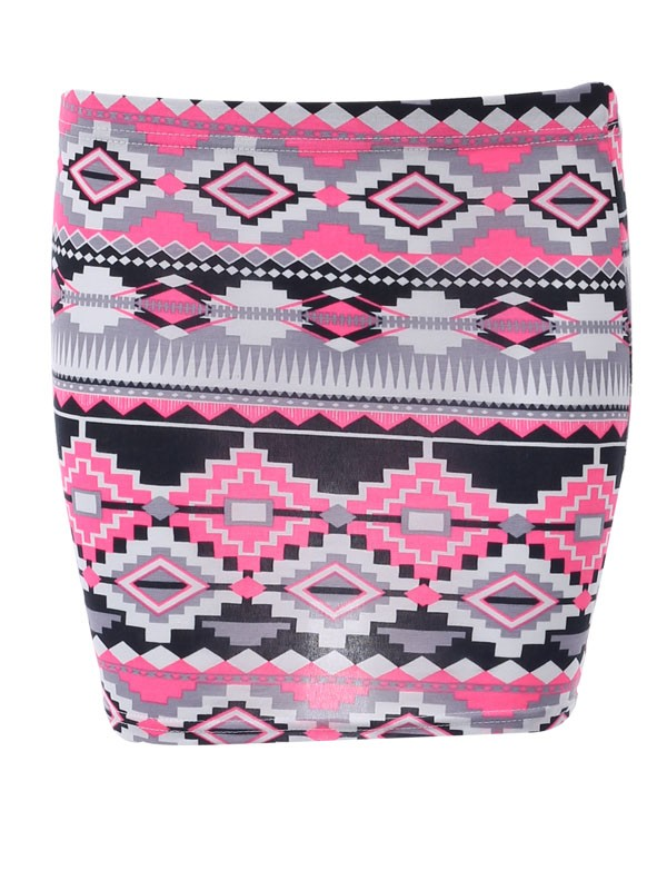 Neon Pink Nordic Aztec Print Stretch Bodycon Womens Casual Short Mini Skirt 8-14