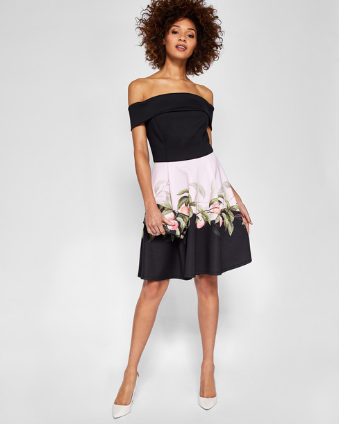 Ted Baker dress bardot dress black peach