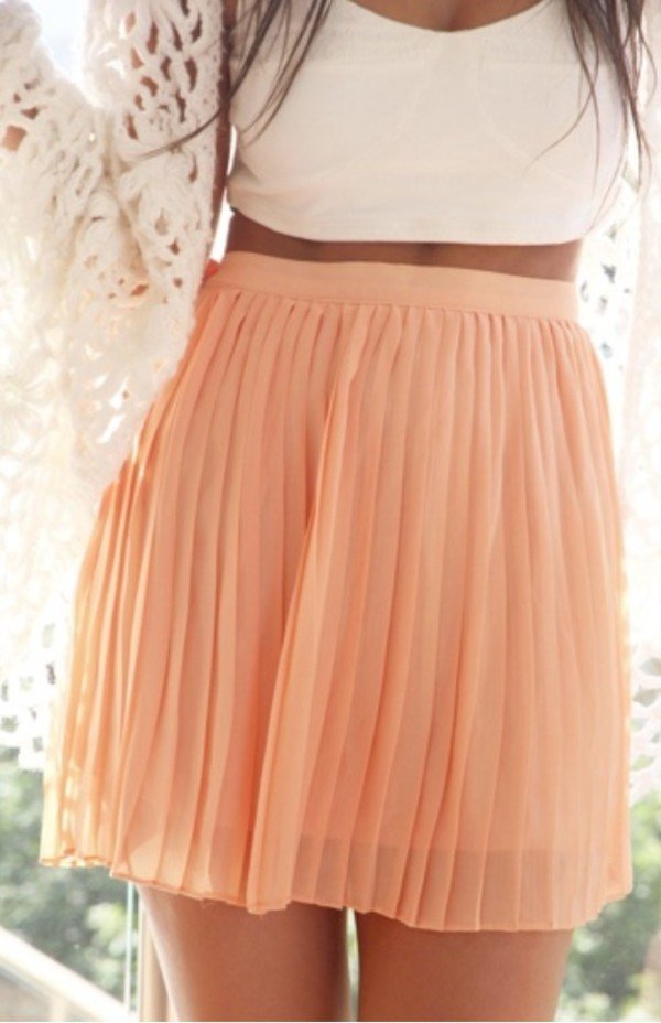 skirt nude peach skirt nude skirt cute pleated skirt thigh length