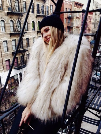 coat fur white streetwear new york city faux fur