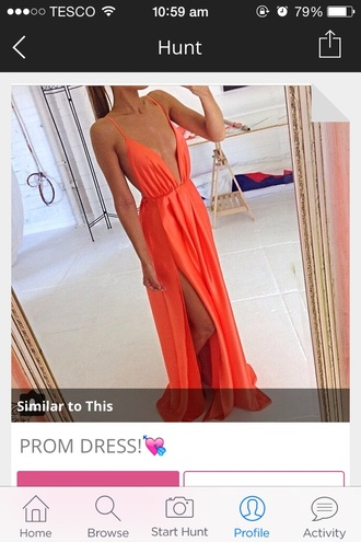 dress orange slit silk instagram low cut silky custom sexy lowcut shiny pretty floor length silky orange dress sexy dress prom dress prom summer instagram company floor length dress summer dress australian australian brand instagram dress